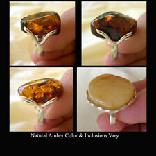 BALTIC HONEY or BUTTERSCOTCH AMBER & STERLING SILVER HANDMADE MODERN RING
