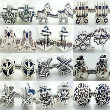 DIY 10PCS MURANO STYLE Tibet Silver Rondelle Spacer Beads Fit Charms Bracelet