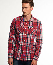 New Mens Superdry Winter Washbasket Shirt Hot Rod Check