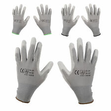 12/24 X PAIRS Grey NYLON PU GRIP Safety Work Gloves Builders Gardening Mechanic