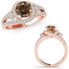 1 Ct Champagne Diamond Fancy Halo Engagement Wedding Bridal Ring 14K Rose Gold
