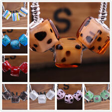 10pcs12mm Square Big Hole Lampwork Glass Loose Beads Fit European Charm Bracelet