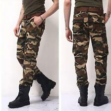 Mens Boys camouflage Cotton overalls cargo  Casual Military pants trousers new
