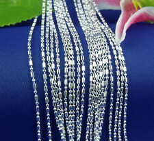 "Wholesale 10pcs 925 Sterling Silver Plated 1.5mm Bamboo Chain Necklace 16""-30"""