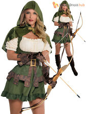 Ladies Sexy Robin Hood Costume Adults Maid Marion Fancy Dress Medieval Archer