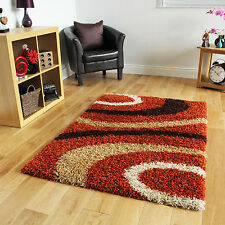New Soft Thick Terracotta Shaggy Rugs Small Large Modern Non Shed Shag Pile Rug