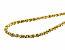 New Real 10K Yellow Gold 3 MM Hollow Rope Chain Necklace 16-28 Inches