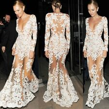 Womens Lady Maxi Long Lace Dress Sexy Evening Party Cocktail Pageant  Prom Gown