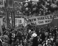 Delegates with Lyndon Johnson sign at the 1964 Democratic Convention Photo Print