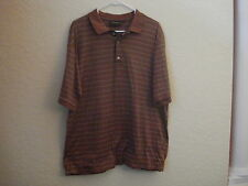 Men's Bobby Jones Collection Cinnamon Brown.Green/Beige Stripe Golf Polo-L