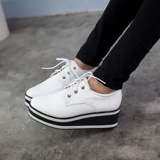 Womens Synthetic Leather Lace Up Platform Wedge Heel Creeper Shoes New Sneakers