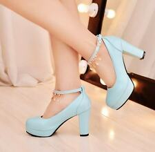 Women Classic Mary Jane Ankle Strap Tassel Chain Pumps High Heels Platform Shoes