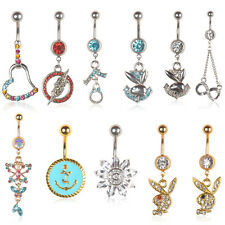 Crystal Rabit Flower Dangle Navel Belly Button Ring Bar Body Piercing Jewelry