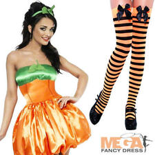 Sexy Pumpkin + Stockings Ladies Halloween Adults Fancy Dress Costume Outfit
