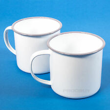 Set of 6 White Enamel Mugs Coffee Tea Hot Chocolate Latte Cups Caravan Camping