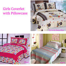 2 Pce Girls Quilted Coverlet Bedspread + Std pillowcases - Single or King Single