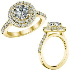 3.55 Ct G-H I1 Round Diamond Marriage Designer Double Halo Ring 14K Yellow Gold
