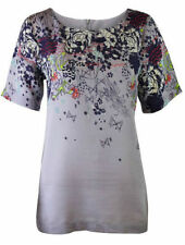 New WHITE STUFF Layla Grey Floral Border print Tunic Top 8 10 12 14 16 18 Rp £45