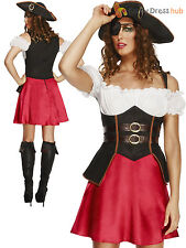 Ladies Fever Pirate Wench Costume Adults Caribbean Fancy Dress UK 8 - 18 Womens