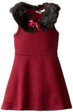Pogo Club Girls Red Wine Madeline Dress W/Faux Fur Size 4 5/6 6X $40