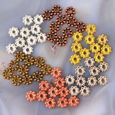 *5x1mm Pewter Flower Spacer Beads 110pc Gold/Silver/Copper/Brass pick your color