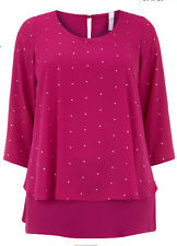 EX EX Evans Pink FUCHSIA Embellished Chiffon Layer Blouse Top size 14 20 *NEW*