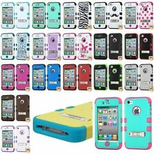 Hybrid Case Skin Stand Design Hard Silicone Cover For Apple iPhone 4 4s 4G