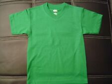 3 NEW SHAKA KIDS PLAIN V-NECK T-SHIRT KELLY GREEN BLANK S-XL 3PC