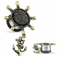 Nautical Anchor Ear Plugs - Brass Ship Wheel w/Anchor Dangle Single Flare Plugs