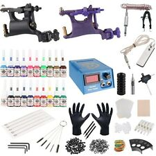 Pro Tattoo Power Supply Kit Gun Machines 20 Color Ink Tattoo Needles Tips Set