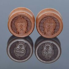 1 Pair Ear Gauges Plugs Wood Ear Expander Amitabha Buddha Body Piercing Jewelry
