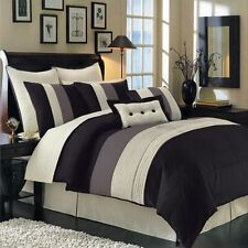 8pc Black/Ivory/Grey Pintuck Striped Comforter Set Full Queen King Cal King