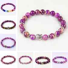Fashion Elastic Beaded Bracelet Purple Sea Sediment Jasper Round Gemstone Bangle