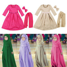 Muslim Kids Girls Dress Abaya Kaftan Long Sleeve Dress+Hijab+Bow Fall Arab Maxi