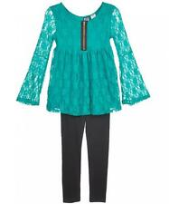 Pogo Club Big Girls Green Lace Top 2pc Legging Set Size 7/8 10/12 14/16 $48