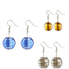 Lady Plastic Irregular Stripe Dangling Oval Pendant Fish Hook Earrings Pair