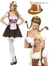 Ladies Sexy Tavern Girl Costume Adult Oktoberfest Bavarian Fancy Dress Hat + Wig