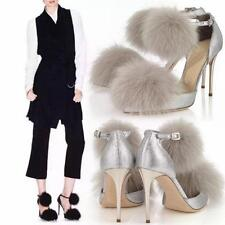 New Womens Fox Fur Party Ankle Strap Pumps Stiletto High Heels Pointy Toe Shoes