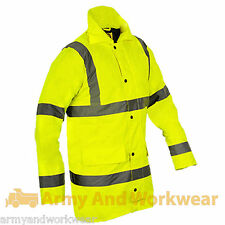 Hi Viz Mens Parka Jacket High Vis Visability Parker Work Traffic Safe Security