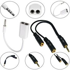 3.5mm STEREO JACK CABLE HEADPHONE AUX SPLITTER ADAPTER FOR LATEST MOBILE PHONES