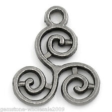 Wholesale Lots W09 Gunmetal Celtic Triskelion Charm Pendants 16x13mm