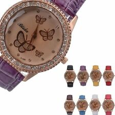 Fashion PU Leather Band Butterfly Style Womens Analog Quartz Wrist Watch