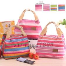Travel Canvas Thermal Insulated Cooler Stripe Picnic Lunch Bag Carry Case Tote