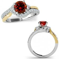 1.15 Ct Red Diamond Fancy By Pass Engagement Ring Band 14K White Yellow Gold