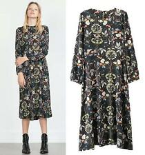 European Style Womens Flowers Pattern Dress Bottom Skirt Long Sleeve Black Dress