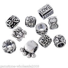 Wholesale Lots W09 Mixed Silver Tone Charm Beads Fit Charm Bracelets