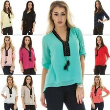 New Womens V Neck Lace Up Feather Tie Three Quarter Sleeve Top One Size 10 14