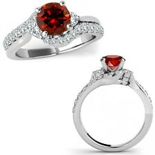 1 Carat Red Diamond Fancy By Pass Engagement Wedding Ring Band 14K White Gold