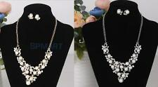 Elegant Simulated Crystal Pearl Rhinestone Jewelry Necklace Earring Pendant Set