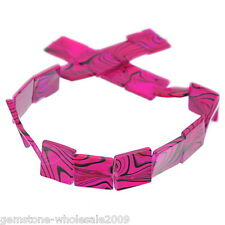 Wholesale Lots Fuchsia Black-line Square Shell Loose Beads 20x20mm, 39cm